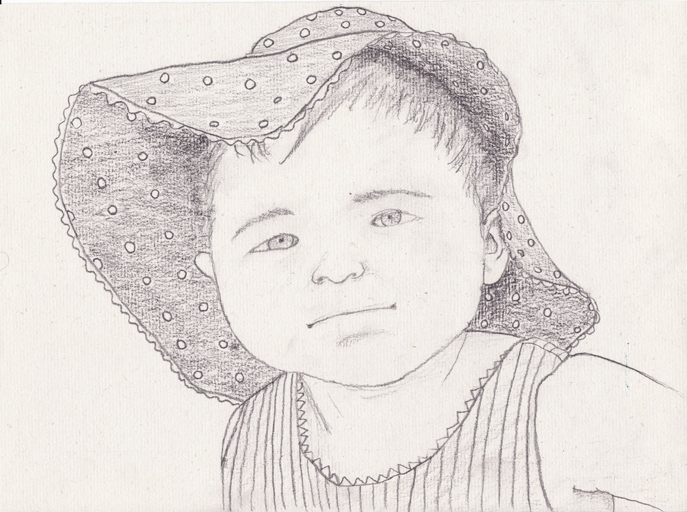 "8x11"" individual portrait on vellum hemp paper. That's one floppy-hatted baby."
